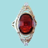 1920s Art Deco Yellow and White 14 Karat Gold Garnet and Diamond Ring