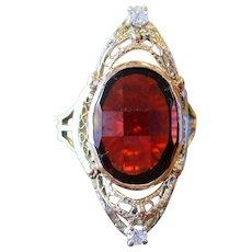 1920s Art Deco Yellow and White 14 Karat Gold Garnet and Diamond Ring