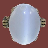 Art Deco 14 Karat Rose Gold Cat's Eye Moonstone Cocktail Dinner Ring