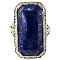 Edwardian 14K White and Green Gold Filigree Faceted Blue Lapis Statement Ring