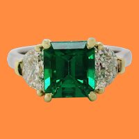 Contemporary Handmade 18K Yellow Gold Platinum Emerald Diamond Three-Stone Ring