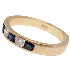 Diamond & Sapphire 14K Gold Wedding Band