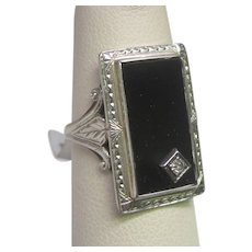 Art Deco Diamond & Black Onyx Ring in White Gold