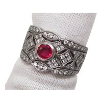 Genuine Ruby Diamond Platinum Filigree Ring