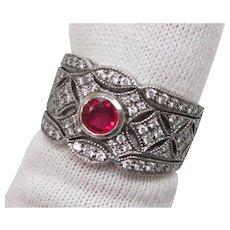 Genuine Ruby Diamond Platinum Filigree Ring