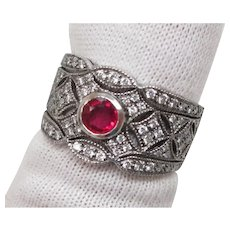 Genuine Ruby Diamond Platinum Filigree Engagement Ring
