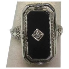 Art Deco Black Onyx Shell Cameo Diamond Flip Ring