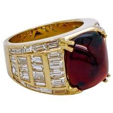 3 ct. Garnet and Diamond 18K Yellow Gold Engagement Ring