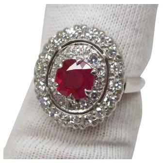 GIA Certified 0.97 Carat Burma Ruby Diamond Platinum Ring