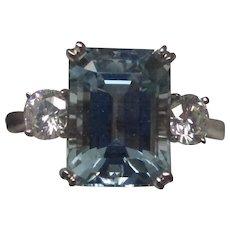 4.23 Carat Aquamarine Diamond Platinum Ring