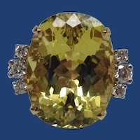 Golden Beryl and Diamond Yellow Gold Ring