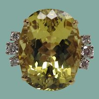 Golden Beryl and Diamond Yellow Gold Ring