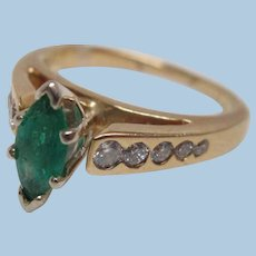 Emerald and Diamond 14K Gold Engagement Ring