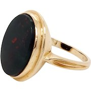 Bloodstone 14 Karat Gold Signet Ring