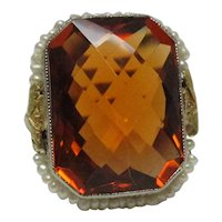 Art Deco Citrine Pearl Filigree Gold Ring