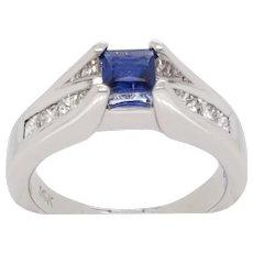 Contemporary Sapphire and Diamond 14 Karat White Gold Ring
