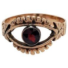 14K Rose Gold Victorian Garnet Eye Ring