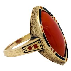 Art Deco Enameled 14K Gold and Red Coral Cabochon Ring