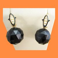 Victorian 14 Karat Gold Faceted Black Onyx Seed Pearl Enamel Accent Earrings