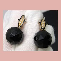 Victorian Onyx and Pearl Earrings