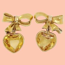 1950's Ladies Yellow Gold Citrine Heart Detachable Drop Earrings