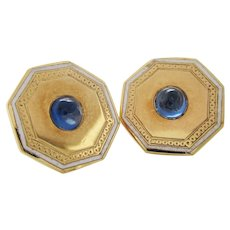 Vintage Estate 14 Karat Yellow Gold Blue Sapphire White Enamel Stud Earrings