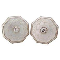 Platinum Over 14 Karat Gold Engraved Mother of Pearl Diamond Stud Earrings