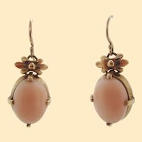 1960s 14K Yellow Gold Baby Pink Coral Dangle Earrings