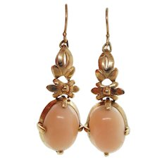 1960s 14K Yellow Gold Pink Coral Dangle Earrings