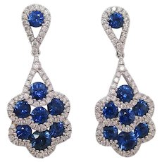 18 Karat White Gold Diamond and Royal Blue Sapphire Dangle Earrings