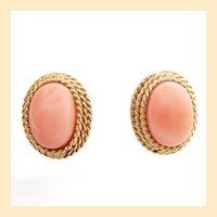 1960s 14K Yellow Gold Undyed Angel Skin Coral Earrings