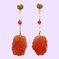 1925 Art Deco 14K Yellow Gold Carved Carnelian Dangle Earrings