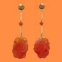 1925 Art Deco 14K Yellow Gold Carved Carnelian Dangle Earrings