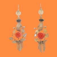 1860 Victorian Enameled Hand Articulated Earrings