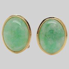 1950s 14K Yellow Gold Green Jadeite Clip On Earrings