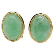 1950s 14K Yellow Gold Green Jadeite Clip On Earrings