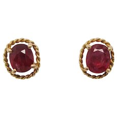 Midcentury 14 Karat Yellow Gold Ruby Stud Earrings