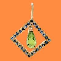 Geometric Briolette Peridot Blue Sapphire 18 Karat Yellow Gold Dangle Earrings