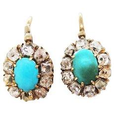 1880 Victorian Russian 14 Karat Gold Turquoise Diamond Drop Earrings