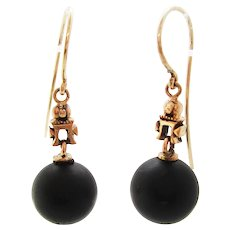 1880 Victorian 14 Karat Rose Gold Jet Mourning Dangle Earrings
