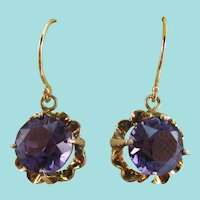 Late Victorian 14 Karat Rose Gold Amethyst Dangle Earrings
