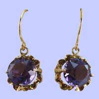 Late Victorian 14 Karat Rose Gold Amethyst Dangle Earrings