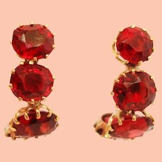 1950's 14K Yellow Gold Red Garnet Curved Earrings