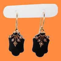 1890 Victorian 14 Karat Rose Gold Black Onyx Seed Pearl Drop Dangle Earrings