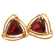 14 Karat Yellow Gold Garnet Triangle Knot Earrings