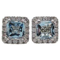 14 Karat White Gold Diamond French Cut Aquamarine Stud Earrings
