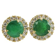 14 Karat Yellow Gold Diamond Emerald Stud Earrings