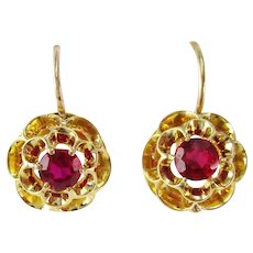 Victorian 18 Karat Yellow Gold Red Ruby Flower Dangle Earrings