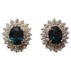 14 Karat Yellow Gold Diamond Natural Color Change Sapphire Stud Earrings