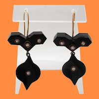 Victorian 14 Karat Rose Gold Seed Pearl and Onyx Articulated Drop Earrings